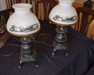 Currier and Ives Cast Iron Belly Stove Lamp Set (2)