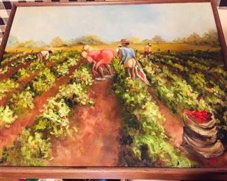 "Original oil by ""Pepper Picking"" by Margot Delahouusaye"