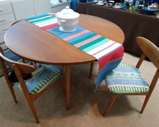 Conant teak table with leaf and 4 chairs