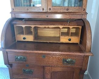 9-1/2'  X  3' Vtg. roll top desk w/glass doors