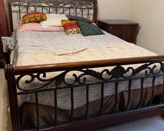Queen Size Bedroom Suit to include Dresser with Marble Top, two Side Tables with Marble Tops, Chest of Drawers, and Queen size Bed with Box Springs and Mattress.