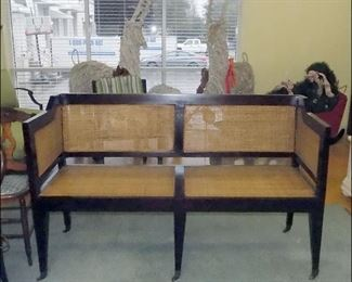 Contemporary Entry Bench with Caned Sides, Back and Seats.