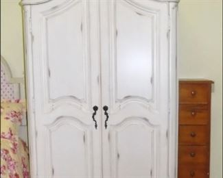 French Armoire with Applied Floral and Bird Carving. Antique lingerie chest.