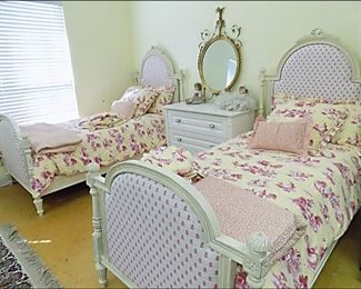 Vera Bradley Upholstered Twin Beds with Bedding.  White Chest.  Antique French Gold Gilded Mirror