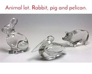 Lot 1002 3pc BACCARAT Glass Animal lot. Rabbit, pig and pelican.