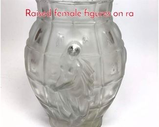 Lot 1003 Art Deco Frosted Glass Vase Raised female figures on ra