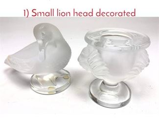 Lot 1004 2pc LALIQUE France Glass. 1 Small lion head decorated