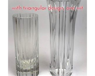 Lot 1005 2pc BACCARAT Vases. One with triangular design, one wit