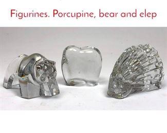 Lot 1006 3pc BACCARAT Animal Figurines. Porcupine, bear and elep