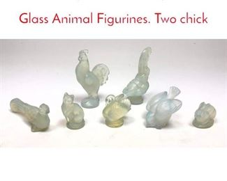 Lot 1007 7pc SABINO Opalescent Glass Animal Figurines. Two chick