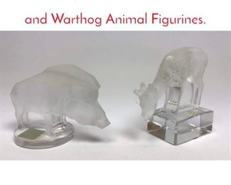 Lot 1008 2pc LALIQUE France Deer and Warthog Animal Figurines.