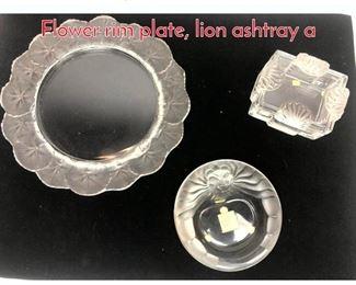 Lot 1009 3pc LALIQUE Glass Lot. Flower rim plate, lion ashtray a