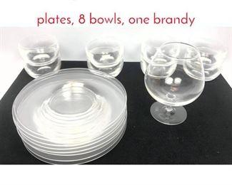 Lot 1010 17 pc STEUBEN Glassware. 8 plates, 8 bowls, one brandy