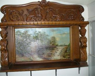 Important R.J. Horner carved oak back bar carved Caryatids and Griffons with an original local Georgia Kennedy Pond Mill landscape circa 1890 or install a mirror