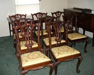 set of eight circa 1920 Chippendale side chairs solid carved mahogany with Ball & Claw carved feet and carved back and legs