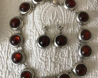 N.E. From sterling and amber choker and earrings