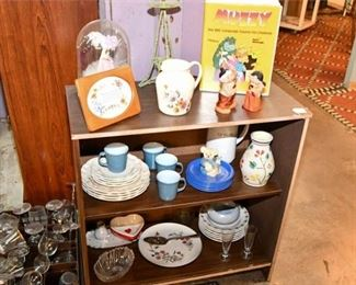 2. Shelf with Various Porcelain Dishes and More