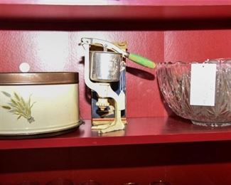 3, Shelf with Various Porcelain Dishes and More