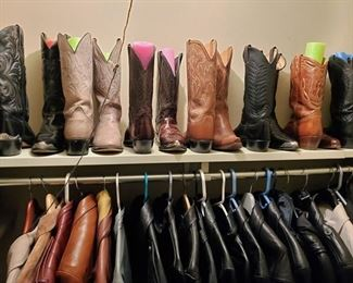 Western Boots and Jackets - Many LEATHER - Some Harley Davidson