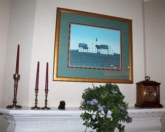 Large framed print, brass candlesticks, mantle clock