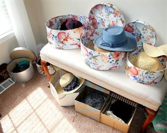 Upholstered bench, ladies hats (some vintage)