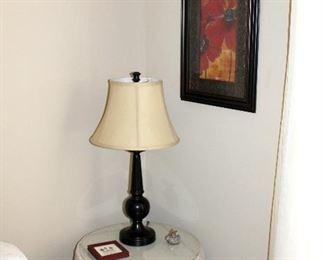 Framed print, lamp, side table