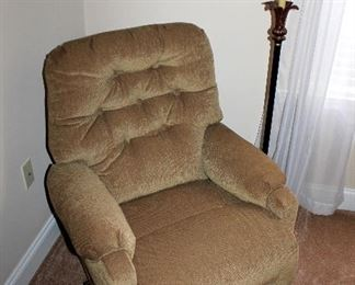 Small upholstered recliner chair