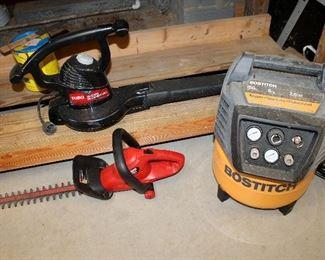 Bostitch 150 PSI 6 gal. air compressor, Toro electric blower, Craftsman hedge trimmer