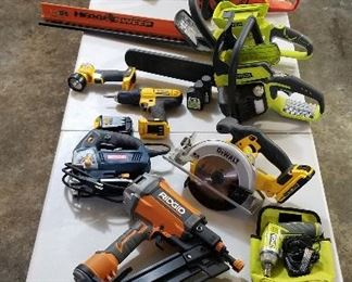 power tools on table