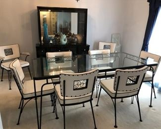 Vintage MCM patio table and chairs Possibly Woodard or Satriani