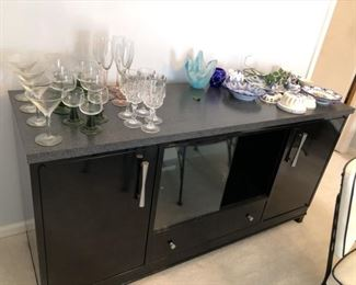 Metal buffet and China cabinet