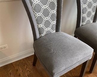 Penny Mustard custom upholstered dining chairs, 4; $300 FOR ALL