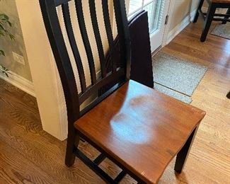 Wooden Canadel style dining chairs, 4 arm chairs and 2 without arms; $50 EA