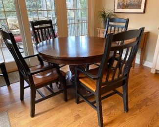 Round Cherry pedestal dining table, pineapple carved base; chairs sold separately (one leaf) $750 FOR TABLE WITH 6 CHAIRS; $400 TABLE ONLY