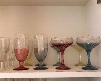 Gilt and 1/2 colored glasses crystal