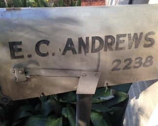 This is the mailbox at the home of long-time Tylerite Earl Andrews; later the home was occupied by his daughter, the late Ellen Andrews Smith-Gage.  (Mailbox - NOT for sale)
