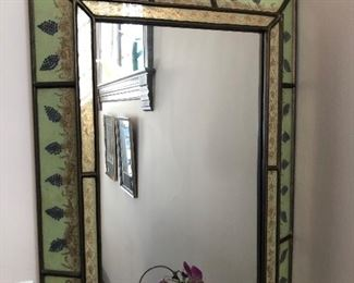 $95 DECORATIVE MIRROR REVERSE PAINTED GLASS FRAME