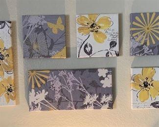 6pc Butterfly/Flower Decor Wall Art