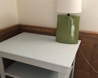 Homemade VERY STURDY wooden table painted, Green Lamp