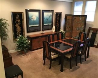 Burled Wood and black laquer dining room set