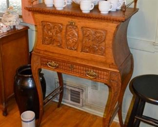 beautiful carved oak writing desk