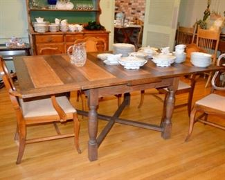 leather top oak pub table $600