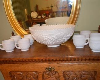 grape decorated milk glass punch set $65