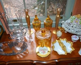 various pieces of gold & silver overlay glassware, Italy covered tureen