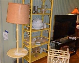 Fricks Reed rattan furniture - table lamp $125, shelf $150, magazine rack $60