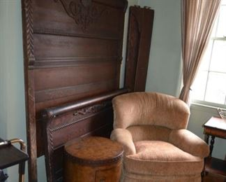 antique oak bed w/rails $750; Butler Specialty Co. barrel cabinet $185; Key City Co. upholstered chair