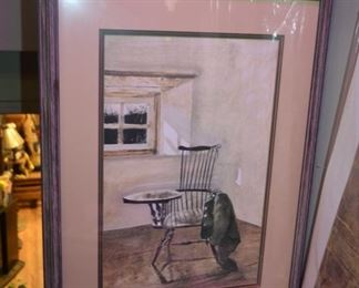 """Writing Chair"" framed Ltd Ed by Andrew Wyeth"