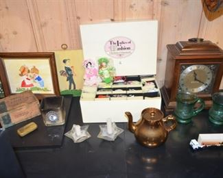 Miss Edna painting, The Ladies of Fashion Christmas ornaments; Set Thomas mantle clock; Lustre teapot; Bicentennial mugs