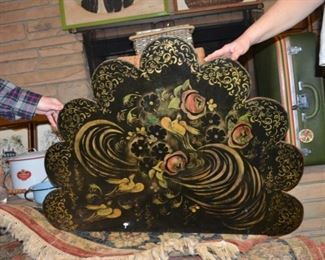 paint decorated tole wood fire screen