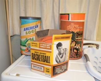 American Logs SOLD; Three Dog Night trashcan; Spaulding Rick Barry basketball